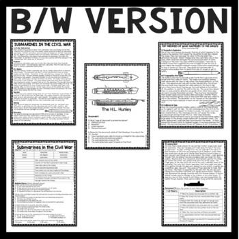 Submarines in the Civil War  Reading Comprehension Worksheet, H.L. Hunley, DBQ