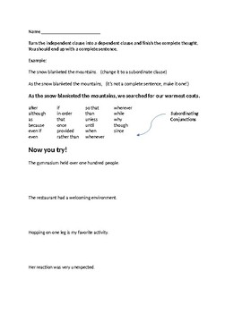 Subordinate Clause Worksheet Teaching Resources Teachers Pay Teachers