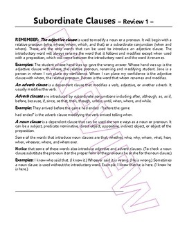 Subordinate Clauses   Noun, Adjective, Adverb   14 Grammar Lessons   Gr 7-8 ELA