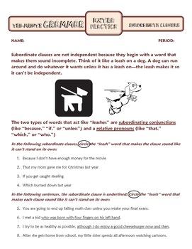 Subordinate Clauses: Ten-Minute Grammar Unit #13