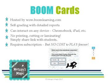 Subordinate Conjunctions Digital Boom Cards Task Cards