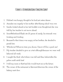Subordinating Conjunction Simple Lesson and Activities