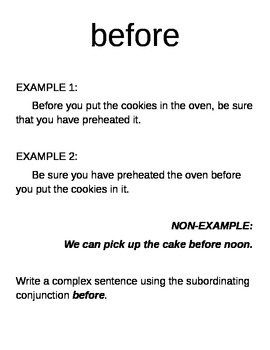Subordinating Conjunctions- AWUBIS words