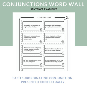 Conjunctions: Example Cards