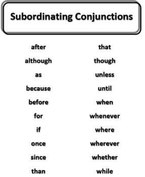 subordinating conjunctions list poster by rudie s resources tpt
