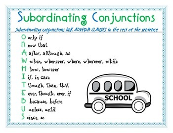 subordinating conjunctions poster by ms durkin tpt
