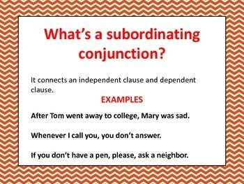 Subordinating Conjunctions Powerpoint