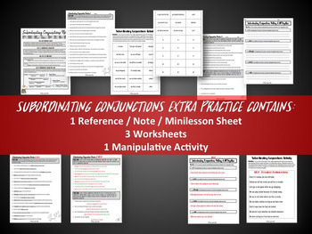 Subordinating Conjunctions Practice Worksheets and Activity
