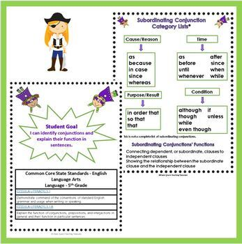 Subordinating Conjunctions Task Card Activities/CCSS Aligned Grade 5