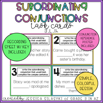 subordinating conjunctions task cards by grade 3 in az tpt