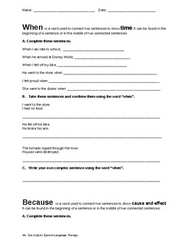 Subordinating Conjunctions Worksheet by The Speech Spark | TpT