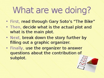 "Subplot organizer and PowerPoint for Gary Soto's ""The Bike"""