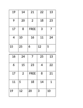 Subraction Bingo with Differences of Values 1-25