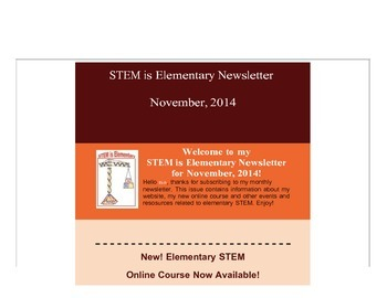 Subscribe to my FREE monthly STEM is Elementary newsletter!