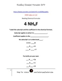 Subscripts, Number of atoms, Chemical Formulas