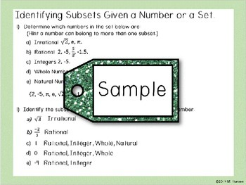 Subsets of Real Numbers Presentation