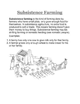 Subsistence Farming Article and Handout