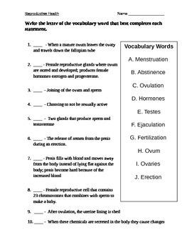 Reproductive Health Vocabulary Quiz