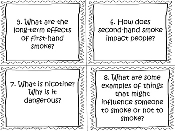Substance Use, Addictions and Related Behaviours Task Cards (Grade 4)