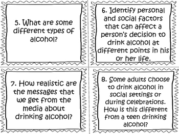 Substance Use, Addictions and Related Behaviours Task Cards (Grade 5)