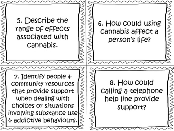 Substance Use, Addictions and Related Behaviours Task Cards (Grade 6)