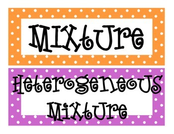 Substances and Mixtures Word Wall