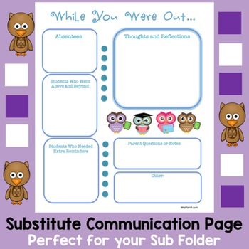 Substitue Communication Page with Owl Theme