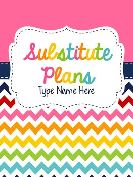 Substitue Plan Book {Editable}