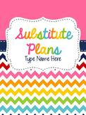Substitue Plan Book {Editable}