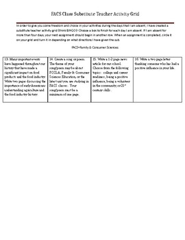Substitute Activity Grid (lesson plans for sub or emergency sub plans)