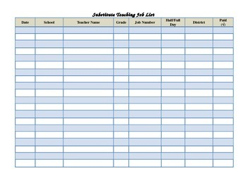 Substitute Assignment Record Sheet