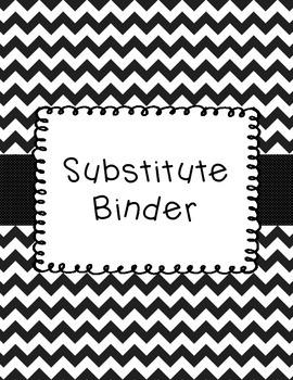 Substitute Binder Black and White Chevron
