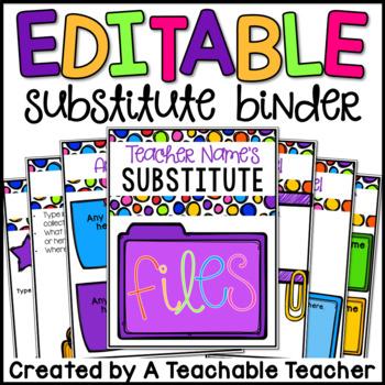 Substitute Binder - Editable