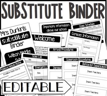 Substitute Binder Sub Tub Editable