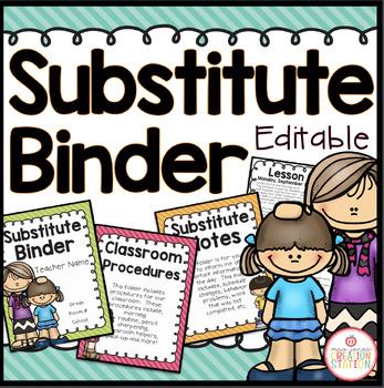 Substitute Binder - Editable {Brights Classroom Set}