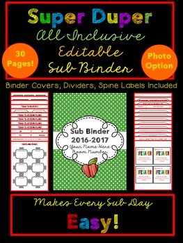 Substitute Binder {Editable, Inclusive, Makes Having a Sub Simple}
