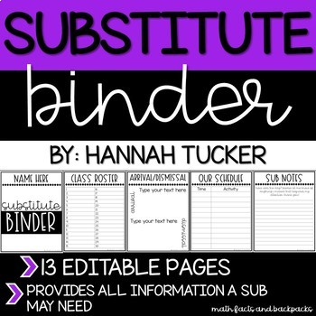 Substitute Binder--Editable and Easy to Use
