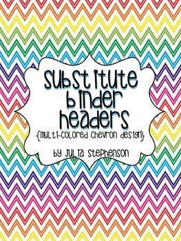 Substitute Binder Headers- Multi-colored Chevron
