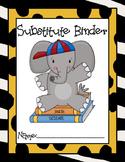 Substitute Binder, Jungle Theme Sub Binder, Jungle Teacher Binder