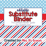 Editable Substitute Binder { Red Navy Nautical } The Ultim