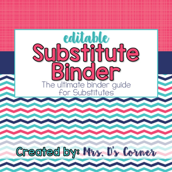 Editable Substitute Binder { Pink Aqua Nautical } The Ultimate Sub Binder Guide