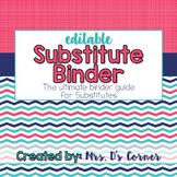 Editable Substitute Binder { Pink Aqua Nautical } The Ulti