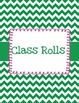 Substitute Binder Green and White Chevron with Pink