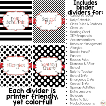 Editable Substitute Binder { Red White Black } The Ultimate Sub Binder Guide