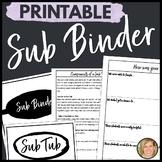 Substitute Binder- Substitute Teacher Binder- Sub Binder- Teacher Planner