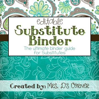 Substitute Binder { Teal Mosaic } Ultimate Sub Tub Binder Guide
