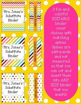 Substitute Binder {editable} - Colorful