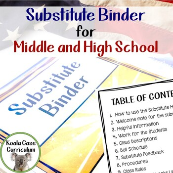 Substitute Binder for Middle and High School