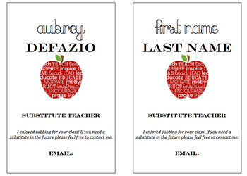 Substitute Business Card Template