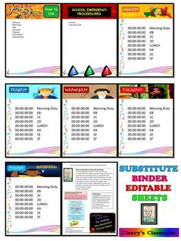 Substitute {EDITABLE} Binder Sheets, Music Theme...FREE!!!